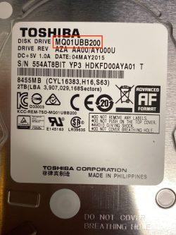 Toshiba hard drive model numbers