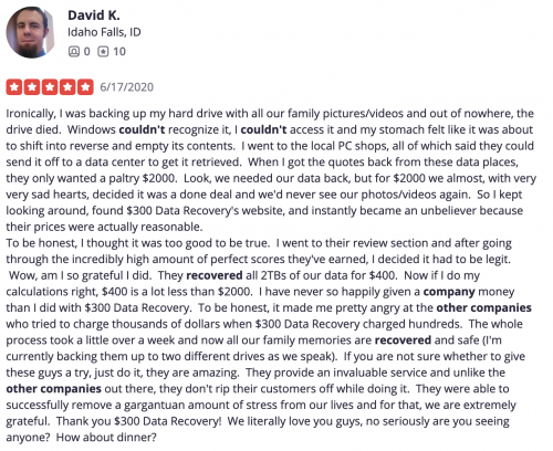 yelp review about our abilities
