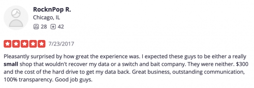 yelp review about being a small company