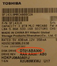 Toshiba-Hitachi drive label