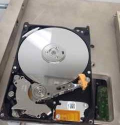 Hard drive in clean room - clean looking platters