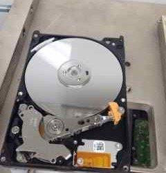 Hard drive in clean room - clean looking platters