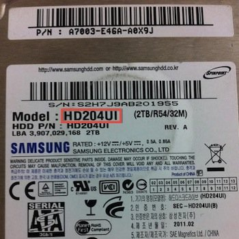 Samsung - find your hard drive model number